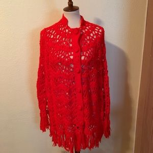 1970s Vintage Crocheted Red Cape. OSFM